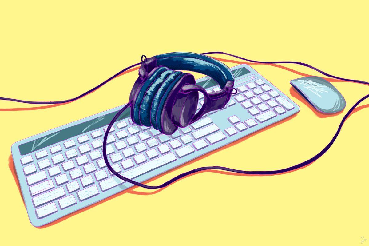 Headphone laying on keyboard